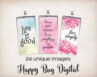 "Sayings #1 Graphics Digital Collage Sheet - 1"" x 2"" Domino Tile Size for Pendants INSTANT DOWNLOAD"