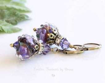 Victorian Earrings, Brass Earrings, Purple Lampwork Beads, Swarovski Crystals, Rhinestone Spacers, Mother's Day Gift, Ultra Violet Earrings