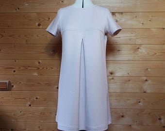 Pink short-sleeved Jersey a-line structured dress