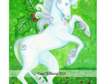 Unicorn Celtic Zodiac Green Holly