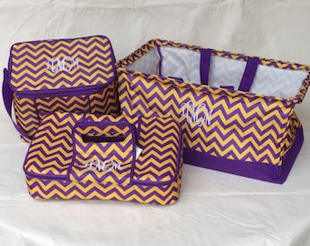 Tailgate Set, ONE LEFT, Mardi Gras Parades, Purple and gold, Insulated Casserole Carrier, 12 Pack Cooler, Crunch Bin, LSU Fans, Personalize