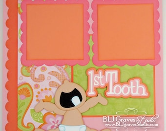 Premade Scrapbook Page First Tooth Baby Girl 12x12 Layout Paper Piecing Baby Girl First Tooth Handmade 50