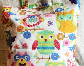 Fabric Tote Shopping Bag - Bright Owls