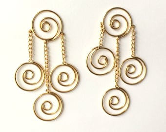 Retro 1970's Gold Round Spirals Long Dangle Drop Statement Earrings