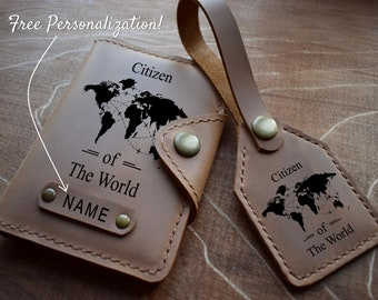 Leather Passport Cover/ Citizen of the World passport cover/Free Personalized Passport Case/Adventure Gift