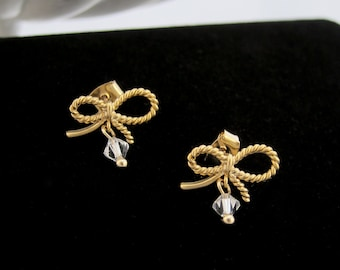 Delicate Gold Bow Tie Earrings with Clear Swarovski Crystal Drop