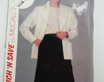 Skirt with pleats / sewing pattern / Suit Jacket / Office suit/ vintage / 1983/ Sizes 14 16 18, Bust 36 38 40, McCalls Stitch 'N Save 8638