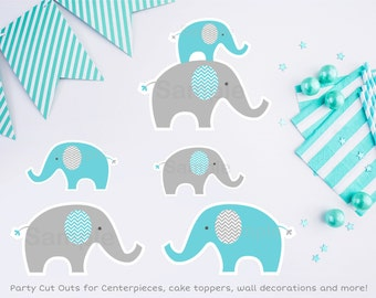 Blue Elephant Cut Outs / Elephant Cut Outs / Wall Decor / Party Decor / Baby Shower Decor / Printable INSTANT DOWNLOAD A200