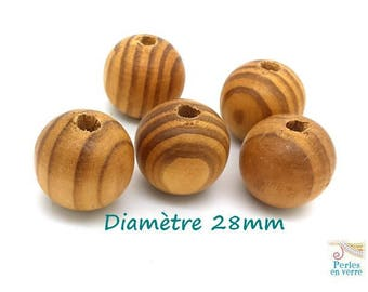 3 large 28mm for necklace or decoration (pb40) wood beads