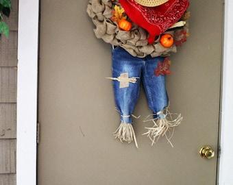 Thanksgiving wreath ,Scarecrow Wreath ,   Halloween  wreath ,Cowboy Wreath   , Burlap wreath outdoor wreath ,Front door Wreath