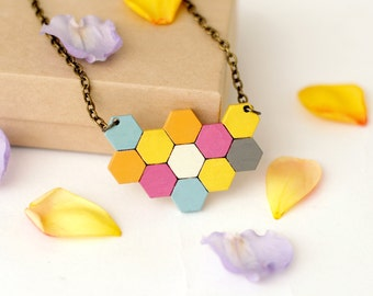 Small geometric honeycomb necklace geometric colourful hexagonal wood pendant painted - small