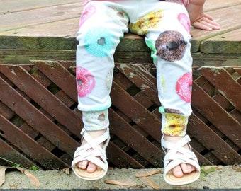 Donut Leggings / Girls Pants / Girls Leggings / Donut Pants / Long Pants / Kids Leggings / Sweets / Cuffed Pants / Baby Leggings / 0-6