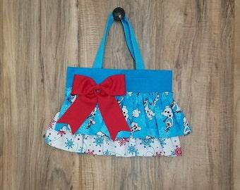 Snowflake Olaf Little Girl Ruffled Tote Bag