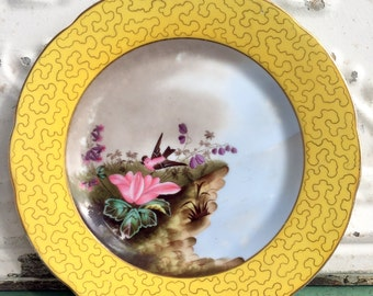 Antique Bird Plate Hand Painted Yellow With Pink Bird Gold trim