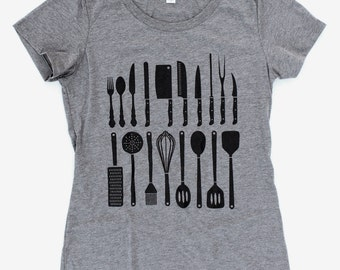 Chef Utensil WOMENS T-Shirt  -  Available in S M L XL and two shirt colors  - knives cook culinary kitchen
