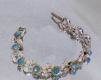 BIG SALE Vintage Blue Moonglow Leaf Bracelet. Judy Lee. Pale Blue Moonglow and Silver Leaf Bracelet.