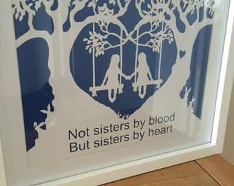 Sister papercut/ handmade gift/ sister gift/ friend gift/ papercut/ handmade/ wall decor/ wall art/birthday gift/home decor/