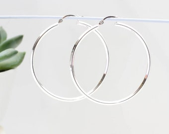 Sterling Silver Large Square Hoop Earrings (HBE145)