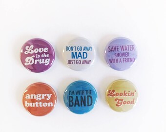 Vintage 70s Inspired One Inch Pinback Button Magnet Set