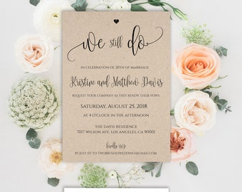 Southern vow renewal invitation anniversary party th