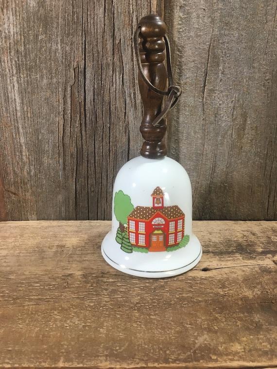 Vintage School designed bell, musical vintage bell, School Days musical bell, MSR imports 1979 school days bell, vintage musical bell