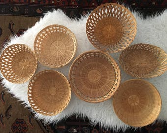 7 Vintage Neutral Hanging Woven Wall Basket Collection/Set