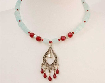Beaded Boho Necklace with Light Sea Green, Ruby and Silver Beads with Chandelier Silver Pendant with Faceted Ruby Red Drop Beads Fringe S229