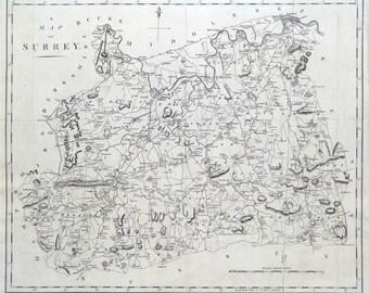 SURREY, LONDON, John Cary original antique map 1798