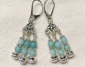 Amazonite and .925 Sterling Silver Earrings