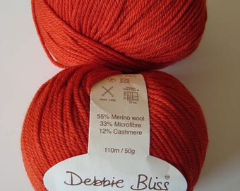 Cashmerino DK Debbie Bliss Merino cashmere Orange brick color wool 50 g ball