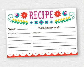 Printable Recipe Card - Fiesta Bridal Shower - Mexican - Cinco De Mayo