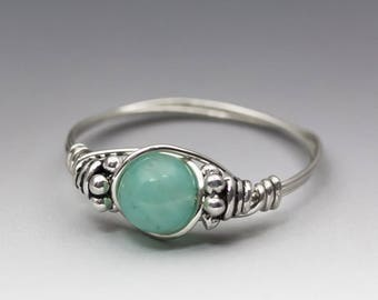 Amazonite Gem Blue Bali Sterling Silver Wire Wrapped Bead Ring - Made to Order, Ships Fast!