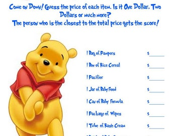 Winnie The Pooh Baby Shower Games (2 Pack)