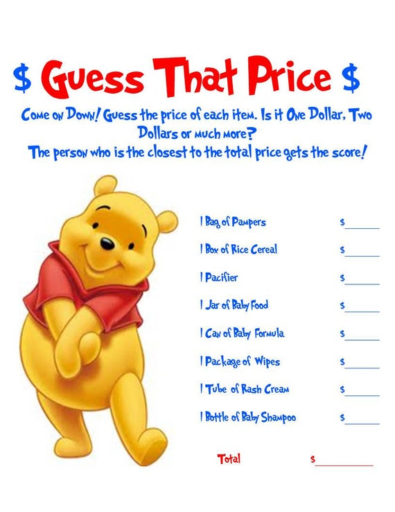 Winnie The Pooh Baby Shower Games 2 Pack
