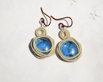Wire Wrapped Glass Earrings Blue Glass Earrings Glass Jewelry Handmade Jewelry Rustic Round Glass Copper Earrings Free Shipping from Israel