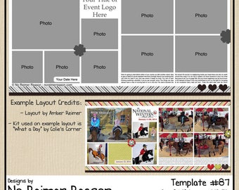 12x12 Digital Scrapbooking Template #87 (2 Page Scrapbook Layout)