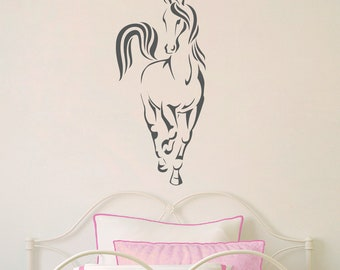 Horse Wall Decal - Girl Bedroom Wall Art - Front view of Horse Sticker - Children Decal