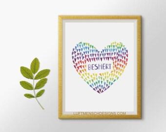 Jewish Art, Jewish Wedding Gift, Jewish Baby Gift, Beshert, Bashert, Meant to Be, Destiny, Judaica, Jewish Printable, True Love Gift
