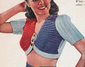 Vintage 1930s Knit Bare Midriff Top Sweater Jumper Pattern PDF 3936 Art Deco Knitting Pattern