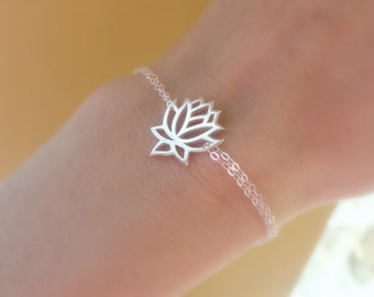 Silver Lotus bracelet, adjustable bracelet, lotus jewelry, yoga jewelry, zen jewelry, STERLING SILVER, gift for yogi, otis b jewelry