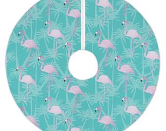 Pink Flamingos on Aqua Christmas Tree Skirt, Coastal Tree Skirt, Tropical Tree Skirt, Flamingo Holiday Decor