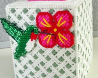 HUMMINGBIRD WEAVE - 3-D - Tissue Box Cover  -  Boutique Size - Needlepoint done on Plastic Canvas