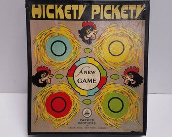 """Antique Vintage Parker Brothers Bros. """"Hickety Pickety"""" board game, complete (c 1924)   First Edition, A NEW GAME"""