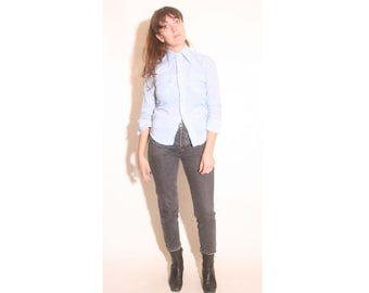 Vintage 1970s Blue and White Plaid Levis Button Up Pocket Collared Shirt size xxs xs