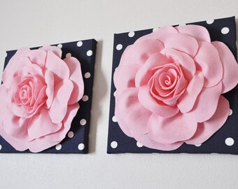 """TWO Flower Wall Art - Light Pink Rose on Navy and White Polka Dot 12 x12"""" Canvas Wall Hanging - 3D Felt Flower"""