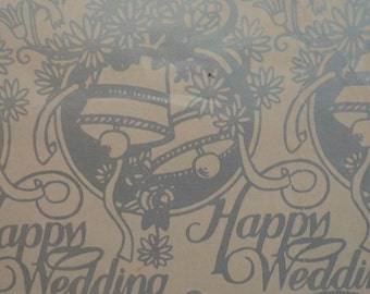 "Vintage 1960s Wedding Gift Wrap Paper-  ""Happy Wedding"" Silver Print Wrapping Paper 2 Sheets"
