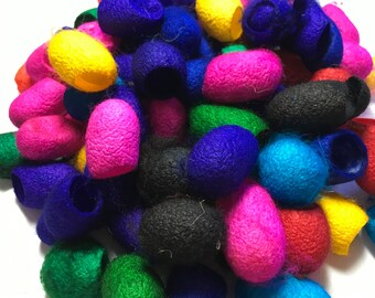 Dyed Mulberry Silk Cocoons, lot of 80 pieces, mixed colors,