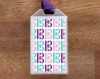 Alto Clef Musical Instrument Case ID Luggage Tag - in purple