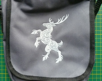Rampant Stag Bag, Heraldry Reporter Bag, Rampant Hart Bag, Medieval Handbag Coat of Arms shoulder Bag Rampant Deer Vape Bag Medical kit bag