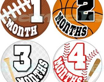 12 Precut Monthly Sports Stickers Baby Shower gift 1- 12 Month stickers Infant Milestone stickers Onepiece stickers Baby Boy Basketball